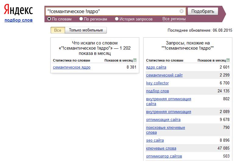 Определение точной частоты запроса с помощью wordstat.yandex.ru